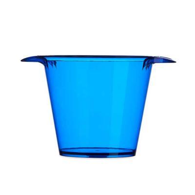 Marketing Brindes - Balde de gelo em acrílico colorido com capacidade de 4 litros com alças laterais. Possui uma única versão leitosa, cor branca.