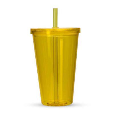 Marketing Brindes - Copo plástico de 1 litro com tampa e canudo. Material plástico resistente translúcido, acompanha canudo rígido.