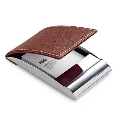 Cia Brindes - Porta cartões Metal e sintético 97 x 63 x 14 mm Incluso caixa  105 x 70 x 15 mm