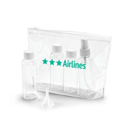 - Bolsa de cosméticos hermética. PVC. Incluso 3 frascos (2 x 65 ml e 60 ml), 1 vaporizador (80 ml) e 1 funil. Apropriada para transporte em cabine de av...
