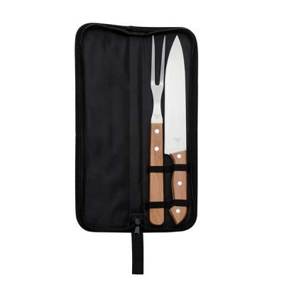 FCFIT Bolsas Thermal Bags - Kit churrasco 2 peças em estojo de nylon com alça. Possui: faca e garfo de madeira(na cor preto os cabos são de plástico), acompanha proteções plástic...