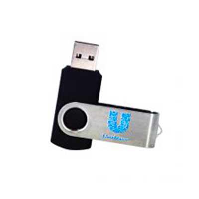 renova-brindes - Pen Drive Giratório de 4 Gb, material de alumínio, com detalhe emborrachado Com personalização dos 2 lados  Peso 12 g  Medida Gravação (CxL): 4,7 x 1,...