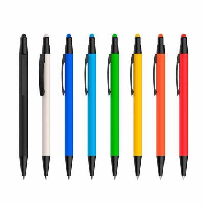 Zoom Brinde - Caneta metal touch Personalizada com pintura fosca colorida. Clip, acionador e ponteira em preto, possui borracha touch no acionador.  Linda caneta, e...