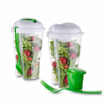 Copo plástico saladeira personalizado 800 ml para salada com recipiente para molho e garfo, plástico utilizado PS (Policarbonato).   Ótimo brinde para... - Zoom Brinde