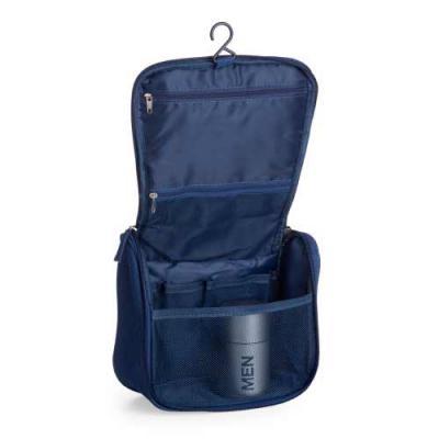 - Necessaire organizadora em tecido nylon Oxford, possui bolso frontal e alça superior, parte interna com gancho plástico; bolso interno superior em nyl...