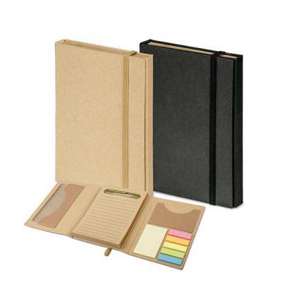 - Kit para escritório Ecológico personalizado com caderno (80 folhas pautadas em papel reciclado), 6 blocos adesivados (25 folhas cada), 1 régua de 12 c...