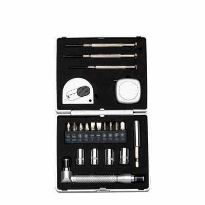 """aeb-kits-corporativos - Kit ferramenta 21 peças com caixa de plástico resistente, para abrir basta pressionar botão """"push"""" na parte central. Possui: 3 mini chaves de fenda, t..."""