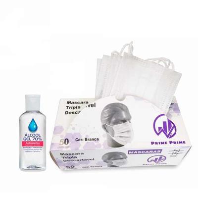 kit de máscaras descartáveis e álcool gel, máscaras de proteção descartáveis - EFB Eficiência a F...