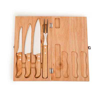 A&B Kits Corporativos - Kit churrasco 4 peças em estojo de madeira