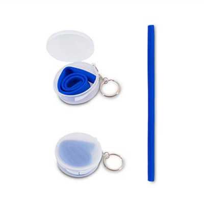 Canudo personalizado flexível em silicone (em grau alimentar). Acompanha estojo redondo em plástico com tampa e chaveiro. Brinde ecológico e sustentáv... - Over Brindes