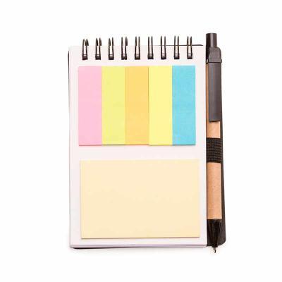 Bloco de Anotações com sticky notes e Caneta