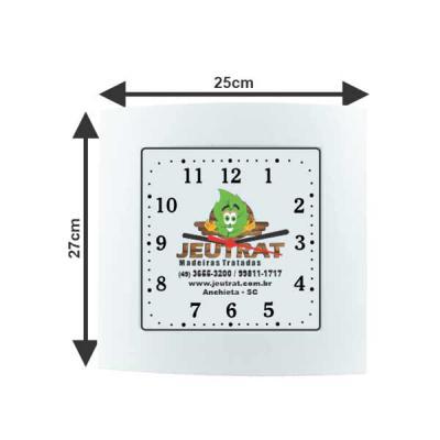 aguia-brindes-ltda - Relógio Social Quadrado  Nas cores: verde bandeira, cinza, branco, vermelho e roial  Com a logo que desejar no fundo. 27cm x 25cm