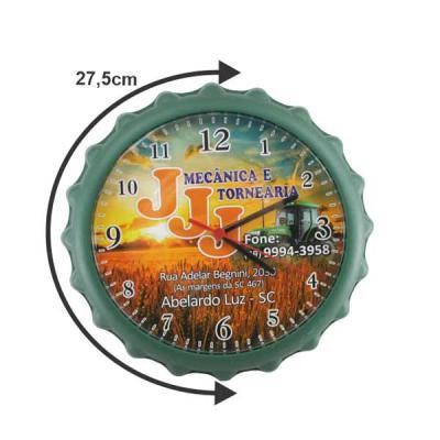 aguia-brindes-ltda - Relógio de parede com design moderno e formato de tampinha de garrafa. Boa opção para decorar e presentear. 27,5 cm  nas cores: branco preto, vermelho...