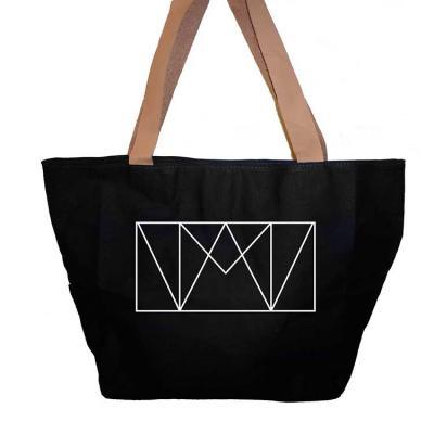 Bolsa de lona, com alça de couro, personalização em silk screen, forro de nylon 70 resinado com b...