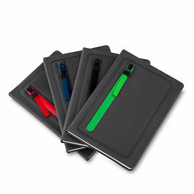 Qmais Promo - Cadernos de anotações com porta objetos na capa