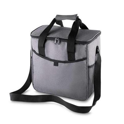 Qmais Promo - Bolsa térmica, capacidade 16 litros, tecido nylon e poliéster, bolso frontal, alça de ombro regulável, parte interna soldada = retém liquido, gravação...