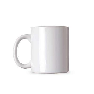 q-mais-produtos-promocionais - Caneca cerâmica de 300ml branca Tamanho total (CxL):  9,7 cm x 12 cm x 26 cm Peso (g):  372