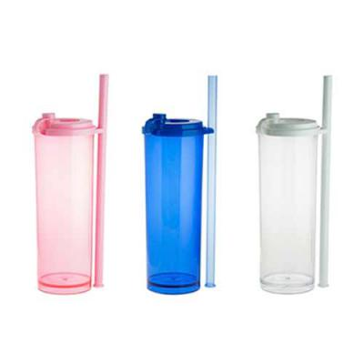 Qmais Promo - Copo plástico long Drink 330 ml com canudo