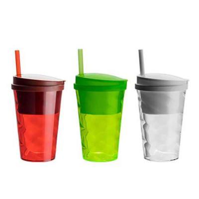 Qmais Promo - Copo plástico com tampa e canudo 400 ml
