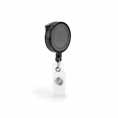 Porta crachá retratil. Extensível até 900 mm. Com presilha metálica. ø32 x 9 mm. - Mathias Promocionais