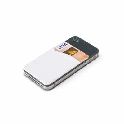 mathias-promocionais - Porta cartões para celular. PVC. Com autocolante. 56 x 89 x 1 mm