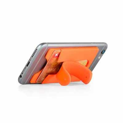 Mathias Promocionais - Porta cartões para celular. Silicone. Com autocolante no verso e suporte para smartphone. 57 x 96 x 5 mm.