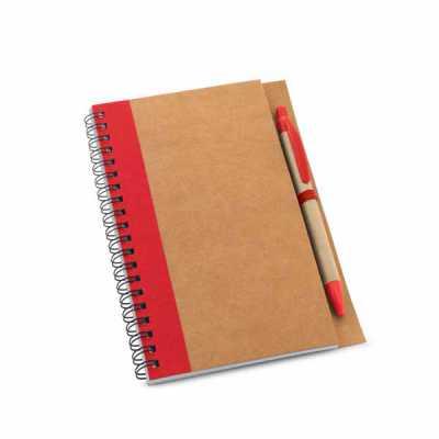 mathias-promocionais - Caderno. Papel kraft. Capa dura. Com 60 folhas não pautadas de papel reciclado. Incluso esferográfica. 130 x 177 mm