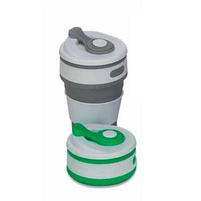 Copo retrátil 350ml de silicone, livre de BPA. Tampa plástica de encaixe com abertura para o boca...