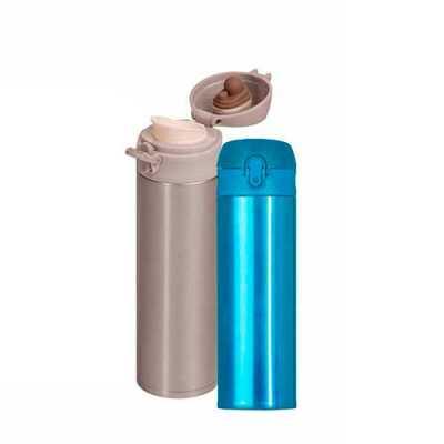 mathias-promocionais - Garrafa térmica de 450ml de metal inteira colorida com botão de abertura prata. Possui um sistema de trava (basta mover para cima/baixo para abrir/fec...