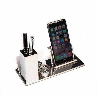 mathias-promocionais - Kit escritório 4 em 1 em inox espelhado. Possui suporte para canetas, cartões, clips e celular.  Medidas aproximadas para gravação (CxL):  2 cm x 8 cm...