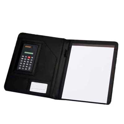 mathias-promocionais - Pasta convenção de couro sintético, possui calculadora solar plástica de 8 dígitos, suporte para cartão, suporte com visor para cartão de identificaçã...