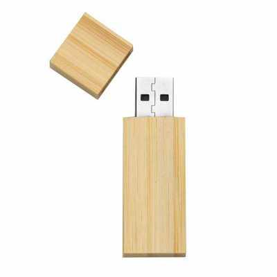 Pen drive 4GB de bambu com tampa de imã, frente e verso lisos.  Medidas aproximadas para gravação (CxL):  4 cm x 1,7 cm  Tamanho total aproximado  (Cx... - Mathias Promocionais