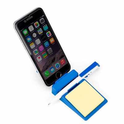 Mathias Promocionais - Suporte plástico para celular com caneta plástica e bloquinho de rascunho. Suporte colorido com encaixe para caneta e celular, acompanha bloquinho ama...