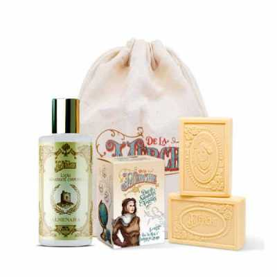de-la-merche - Kit de loção corporal e caixa de sabonetes veganos premium em sacolinha de algodão