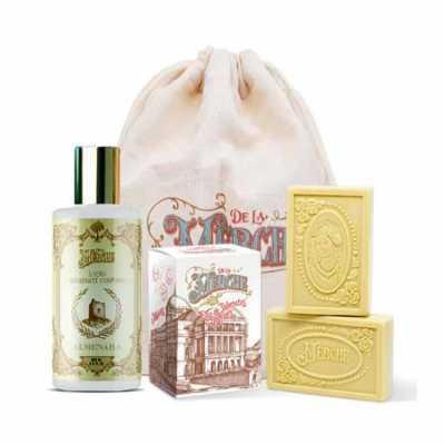 de-la-merche - Caixa de sabonetes e loção corporal veganos premium em sacolinha de algodão personalizada