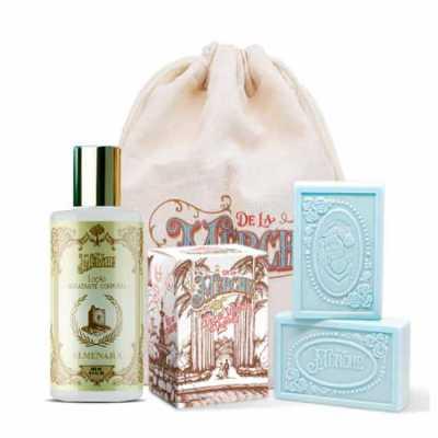 de-la-merche - Kit de cosméticos veganos premium De La Merche em sacolinha de algodão personalizada