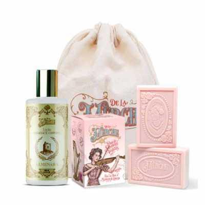 de-la-merche - Kit de loção corporal e caixinha de sabonetes em barra premium em sacolinha de algodão