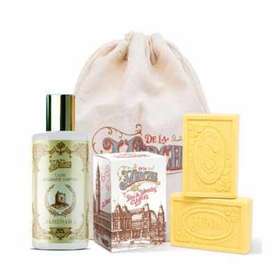de-la-merche - Kit caixa de sabonetes e loção corporal veganos premium em sacolinha de algodão personalizada