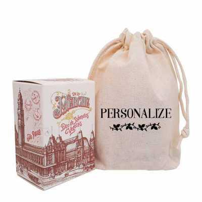 - Caixinha de sabonetes veganos de luxo em sacolinhas de algodão cru personalizadas com sua arte. O presente perfeito para eventos, congressos, clínicas...