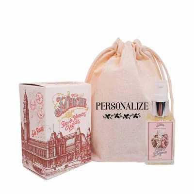 Mini sabonete líquido e caixa de sabonetes barra (2x75g) em sacolinha de algodão personalizada - De La Merche