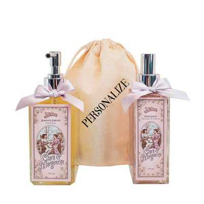 Home spray e sabonete líquido Clara & Marguerite em sacolinha de algodão