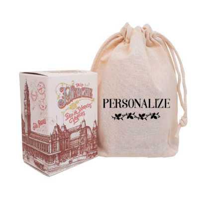 Caixinha de sabonetes vintage de luxo em sacolinhas de algodão cru com estampa personalizada. O presente perfeito para surpreender e encantar em event... - De La Merche