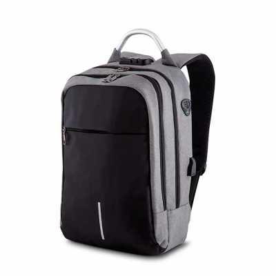 labor-brindes - Uma mochila moderna com bastante espaço interno incluindo porta notebook, possui fechamento em cadeado com segredo. Alça de mão em metal, fita reflexi...