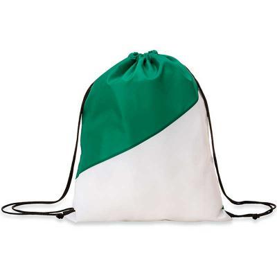 Mochila saco confeccionada em nylon com detalhe branco na parte inferior e alças ajustáveis para ...