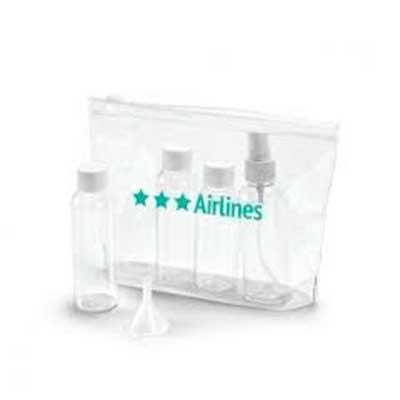 Bolsa de cosméticos hermética em PVC. Incluso 3 frascos (2 x 65 ml e 60 ml), 1 vaporizador (80 ml...
