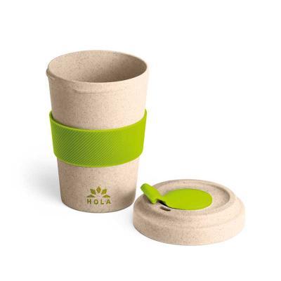 Copo para viagem Ecológico de fibra de bambu e PP. Com banda de silicone e tampa. Capacidade até ...