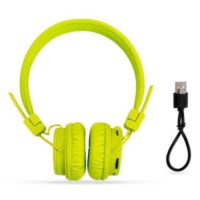 Headfone wireless colorido com haste ajustável e fones dobráveis. Acompanha cabo USB e manual de ...