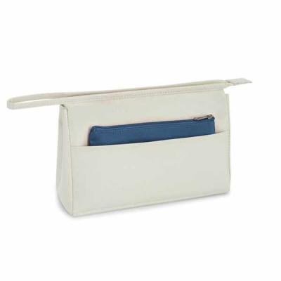 Necessaire (ideal para cosméticos) com bolso frontal e bolsa dentro Material em Microfibra (Fabri...