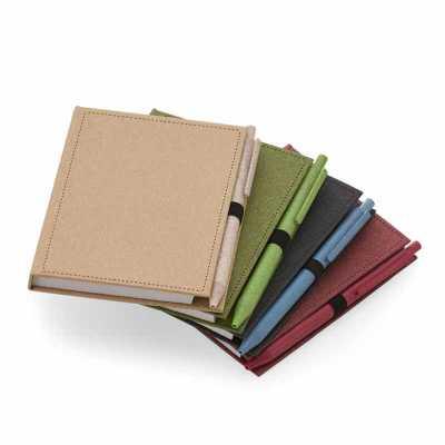 Bloco de anotações com capa dura com sticky notes