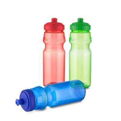 - Garrafa tipo Squeeze em plástico com tampa rosqueada, bico com trava. Capacidade: 750 ml.